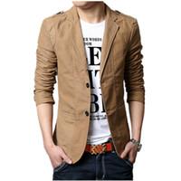 Wholesale Designers Blazers Suit - Wholesale- 2016 Autumn New Men Blazer Fashion Slim casual blazer for Men Brand Mens suit Designer jacket outerwear men 3 colors M~XXXXXL