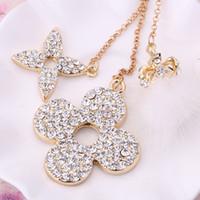 Wholesale Key Chain Crown - Fashion crystal jewelry Rhinestone Clover Flower Fur Ball Crown Key chain ring CZ diamond keyring women bag accessory