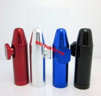 vapor de tubo venda por atacado-Epacket frete grátis para os EUA Bullet forma Snuff Snorter Sniffer Metal Fumar Tubo de erva Tubos de Tabaco Titular do Cigarro preço barato vape presente
