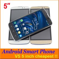 Wholesale Cheap Unlocked Dual Phone - Cheap 5 Inch Smart Phone Android 4.4 GSM Dual Sim 256M RAM Wifi Single Core Multi Touch Screen H-Mobile V5 Unlocked Free shipping 10pcs