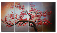 Wholesale 4 Panel Oil Painting Cherry Blossom Canvas Art Hand Paint Red Flower Painting Framed Wall Art Decor x60cmx4pcs