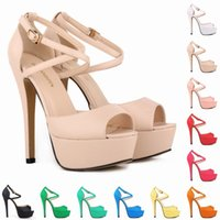 Wholesale yellow bridal peep toe heels - Sapato Feminino Grils Party Bridal Wedding Patent High Heels Open Toe Shoes Ankle Strap Sandals US Size 4-11 D0102