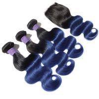 paquetes de pelo azul virgen ombre al por mayor-Black and Blue Ombre Virgin Hair Bundles con cierre Two Tone 1B Blue Ombre Body Wave El cabello humano teje con un cierre superior