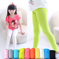 Wholesale Girls Summer Tights - girls leggings girl pants new arrive Candy color Toddler classic Leggings big children trousers baby kids leggings 15 colors available