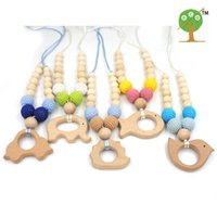 Wholesale necklaces crochet - 5 designs to choose animal teether Neutral Necklace Beech charm NURSING Necklace,mint color Crochet teething Necklace EN37