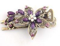 ferramentas de jóias vintage venda por atacado-Jóias Vintage Cristal Flor Grampos de Cabelo Rhinestone Petal Hairpins Acessórios Para o Cabelo para As Mulheres Ferramentas de Beleza Do Casamento