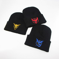 Wholesale Boys Beanie Blue - Poke mon Go Beanie Hat Men Women Skiing Warm Winter Hats Knitting Caps Team Valor Red Mystic Blue INSTNCT Yellow