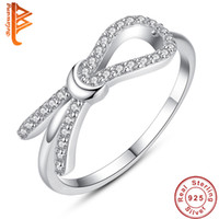 Wholesale Rings For Friends - BELAWANG 925 Sterling Silver Infinity Ring Eternity Bow Rings Best Friend Gift Endless Love Symbol Fashion Rings For Women Free Shipping