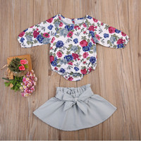 Wholesale Grey Kids Dress - Mikrdoo Newborn Baby Clothes Sets Retro Flowers Rompers Grey Dress 2pcs Suits Kids Girl Fashion Floral Tops Bowknot Outfit Top Set Wholesale