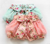 Wholesale Tutu Floral Short Big Bow - Summer Korean Baby Girls Toddlers Kids Floral Big Butterfly Bow knot Lace Gauze Bubble Skirt Kids Tutu Shorts Elastic Short Pant