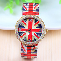 Wholesale Union Watches - The British union jack steel band elastic sheet Printing set auger restoring ancient ways with wrist watch Men's and women's leisure student