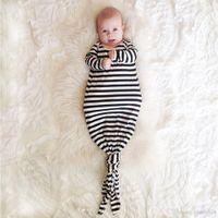 Wholesale Body Warmer Bag - DHL INS hot infant baby Mermaid sleeping bag strip Bear sleepsack baby romper blanket baby body suits E1174