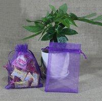 Wholesale Organza Bags 16x22cm - 100pcs Purple With Drawstring Organza Gift Bags Favor Bags 7x9cm 9x11cm 13x18cm 16x22cm 20x30cm 2016 Hot Sale