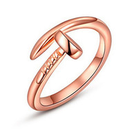 Wholesale Korean Wedding Models - Screw nails female ring ring 18K rose gold ring jewelry Korean version of the hot models with ring