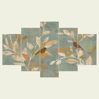 yağlıboya yaprakları toptan satış-(Çerçeve yok) yaprakları serisi HD Tuval baskı 5 Panel Duvar Sanat Yağlıboya Dokulu Soyut Resimler Dekor Oturma Odası Dekorasyon