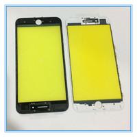pantalla reformada al por mayor-Para iPhone 7G 7 Plus Panel táctil frontal Pantalla exterior Cubierta de lente de vidrio + Marco medio Montaje de bisel Completo Repuesto Piezas reacondicionadas