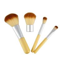 Wholesale Gunny Bags - HOT Seal 4PCS Bamboo Handle Makeup Brushes Cosmetics Tools Set Powder Blush Eyeshadow Brushes with Gunny Bag