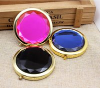 "Wholesale Small Round Cosmetic Mirrors - VANTAS Gold Pocket Mirror Cosmetic Crystal Makeup Mirror,Small Travel Mirror 2.75"" #M023SJ FREE SHIPPING"