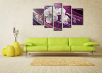 Wholesale Set Painting Wall Orange - 5 Panel Hand Painted Oil Painting Wall Art Orange Flowers Paintings Set Home Decoration Pictures Living Room Handmade Poster