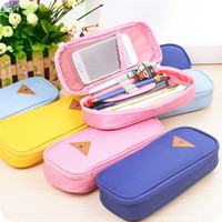 Wholesale School Girl Korea - Korea Magic Channel Large Capacity Multifunctional Canvas Pencil Cases Big Leather Pen Bags Box for Boys Girls School Stationery