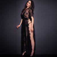 Wholesale Thong Night Dress - Sexy Sleepwear Lingerie Hot Gown Long Dress Black Sheer Lace Kaftan Robe with Thong Night Clubwear