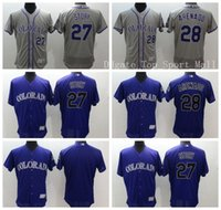 Wholesale Best Story - Colorado Rockies Jersey 28 Nolan Arenado 27 Trevor Story Baseball Jerseys Elite Team Color Purple Gray Embroider Best Quality