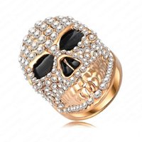 Wholesale Sterling Silver Skull Rings - Skull Style Engagement Rings Genuine 18K Rose Gold Plated&Pave Austrian Crystal Punk-Pop Gangnam Jewelry