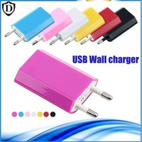 Wholesale Wall Charger Iphone 4s Flat - EU   US PLUG 5V Full 1A Color Flat Wall Charger AC Power Adapter Home Charger Battery Chargers For Cellphone iPhone 7 4S 5C SE 6S plus