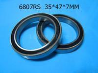 Wholesale Chrome Steel Ball Bearings - 6807 RS bearing 10pcs lot Metal sealed bearing free shipping 6807 6807RS 35*47*7 mm chrome steel deep groove bearing