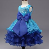 Lovely Baby Kids Lace Cerimonie Party Tutu Abiti Girl Tulle Ruffles Bambini Elagant Princess Abito da sposa Blue Little Girls Bowknot Dres