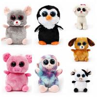 Wholesale Ty Plush Rabbit Toy - TY Plush Dolls 22cm Ty Beanie Boos Cat Dog Rabbit Animal Big Eye Stuffed Plush Toys Pre Sell 120pcs LJJO3676