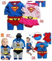 Wholesale Girls Superman Style Romper - super hero Baby One-Piece baby Rompers boys girls Batman style Romper Superman Girl Rompers Batman Clothes 12style choose free