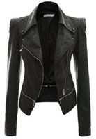 Wholesale Sleeveless Leather Motorcycle Vest - New Cool Women Leather Jacket Rivet Zipper Motorcycle Jacket Turn Down Collar chaquetas mujer Argyle pattern Leather Coats