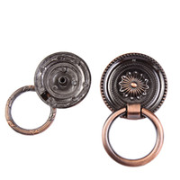 Wholesale Bronze Ring Pull - Vintage Cabinet Knob Drawer Dresser Cupboard Drop Ring Handles Vintage Drawer Knobs Pull Bronze copper white