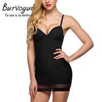 Wholesale Slim Body Dress - Burvogue Women Overbust Tummy Control Full Body Shaper Dress Firm Slimming Shapewear Push up Bra Shaperwear Control Slips