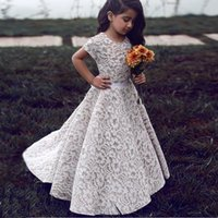 Wholesale Kids Wedding Shirts - 2017 Lace Flower Girls Dresses For Weddings Aline Short Sleeves Ivory Champagne Floor Length Pageant Dresses For Girls Kids Wedding Dress