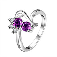Wholesale Girls Red Cherry Set - New Jewelry cluster Rings European styles 925 sterling silver white purple cherry plants colors r042 lovely girls women gift wholesale price