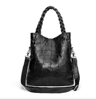 Wholesale Bag Natural Leather Handbag - New 2016 Fashion Genuine Leather Women Handbag Patchwork Natural Sheepskin Shoulder Bag Famous Brand Women Bag Casual Tote sac