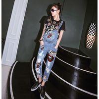 yeni stil kadın pantolon toptan satış-Avrupa tarzı Yeni Bayan delik Tulum Kot Tulum Rahat Sıska Kız Glitter seksi dudaklar Pantolon Kot