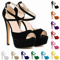 Sapato Feminino Hot Peep Toe Strappy Platform Faux Suede Talons hauts Sandale Chaussures Femme Femme Pompes Us Taille 4-11 D0028