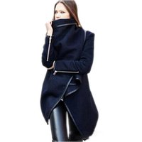 Wholesale Trench Blue Cape Coat - 2016 New Winter Long Coats Cape For Women Casual Long Sleeve Plus Size Woolen Jacket trench Coats Overcoat Outerwear Clothing