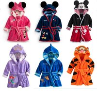 Kinder Cartoon Minnie Mickey Mouse Bademantel Coral Fleece Kinder Tiger Roben Baby Die Kleine Meerjungfrau Bademantel Boy Girl Bad Verschleiß