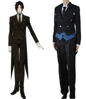 All'ingrosso-Anime Black Butler Sebastian Michaelis uniforme costume cosplay Tuxedo completa (cappotto + Vest + Shirt + Pants + Tie)