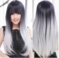 Wholesale Long Grey Wig Heat Resistant - WigShow Long Synthetic Ombre Hair Wig With Grey Heat Resistant Synthetic Perruque Cheveux Naturel Women Cosplay Hair WigS+Cap
