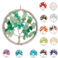 Wholesale Chip Necklaces Wholesale - Natural Crystal Quartz Gemstone Chakra Living Tree of Life Charms Handmade Natural Gemstone Chips Wire Wrap Stone Bead Pendant for Necklace