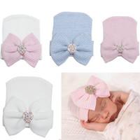 Wholesale Infant Cotton Boy Bonnets - new newborn knit beanie hats baby boy girls big bows caps toddler kid cotton crochet wraps infant unisex hair accessories photography bonnet