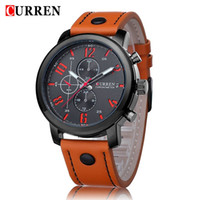 Wholesale Water Curren - CURREN Original Brand Men's Sports Waterproof 3 dials Leather Strap Wrist Watch High Quality 8192