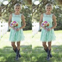 Discount junior bridesmaid short yellow - 2016 Country Style Mint Green Bridesmaid Dresses Short Lace Formal Dresses For Junior And Adult Bridesmaid Knee-length Wedding Party Dresses