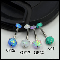 Wholesale Large Belly Button Rings - 1PC Large Surgical Steel Internally Thread Opal Prong Set Navel Belly Button Piercing Rings Charming Fashion Jewelry 14g