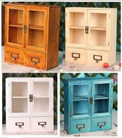 Wholesale Quality Wood Doors - 2pcs Drawer Size 31*12*36cm Household Quality Vintage Wooden Office  Cosmetic Sundries Toys Storage Box Case  cupboard Cabinets with Door